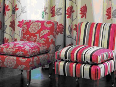 Colorful fabric on chairs and draperies